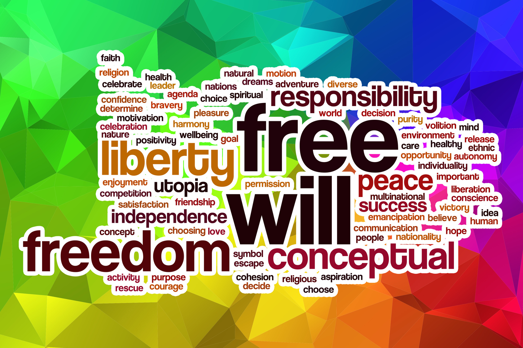 Free will word cloud with abstract background